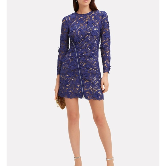 Lily Zip Detail Blue Guipure Lace Mini Dress Nwt